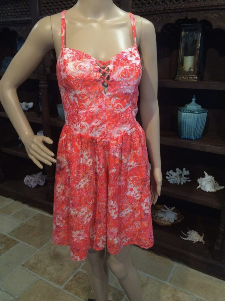 26004 B1ssd Floral Print Amp Lace Design Sun Dress By Guess