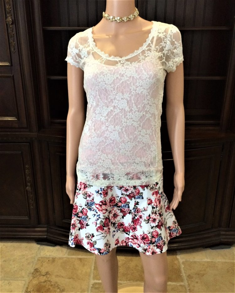 01f51e8e0136a5 6003 B1 LCT Sheer Off White Lace Top By Bozzolo Size Large – A ...