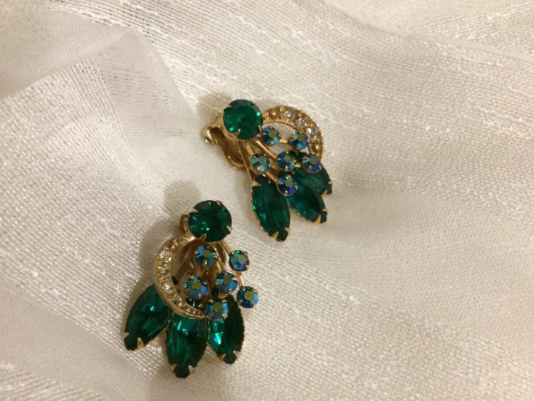 62008 B1 Vjce Elegant 1940 S Emerald Green Clip On Earrings